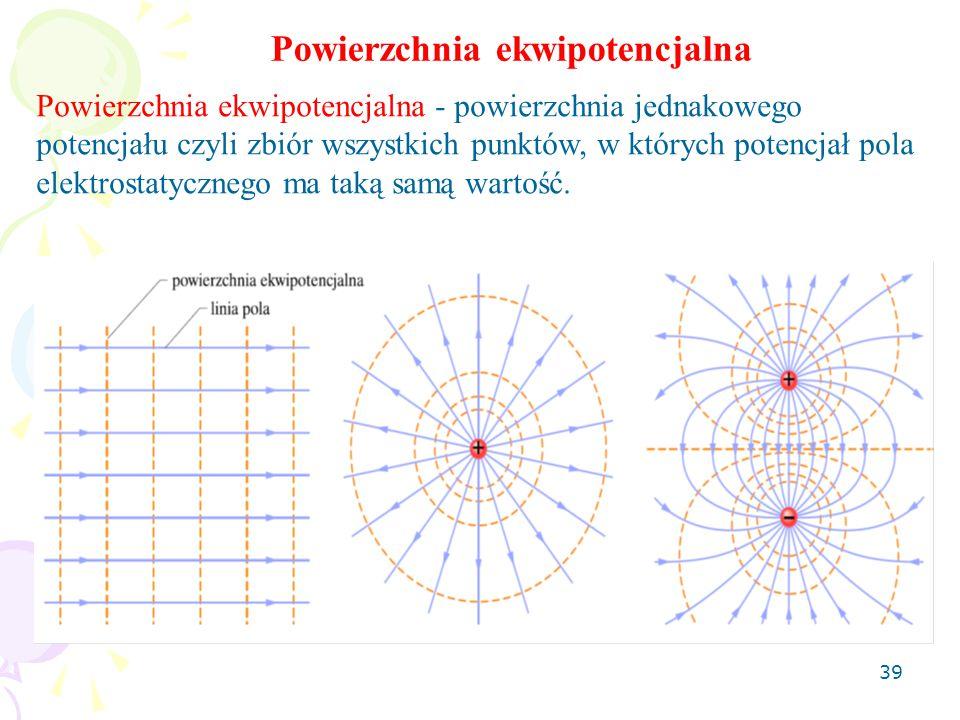 39 Powierzchnia ekwipotencjalna Powierzchnia ekwipotencjalna - powierzchnia jednakowego potencjału czyli zbiór wszystkich punktów, w których potencjał