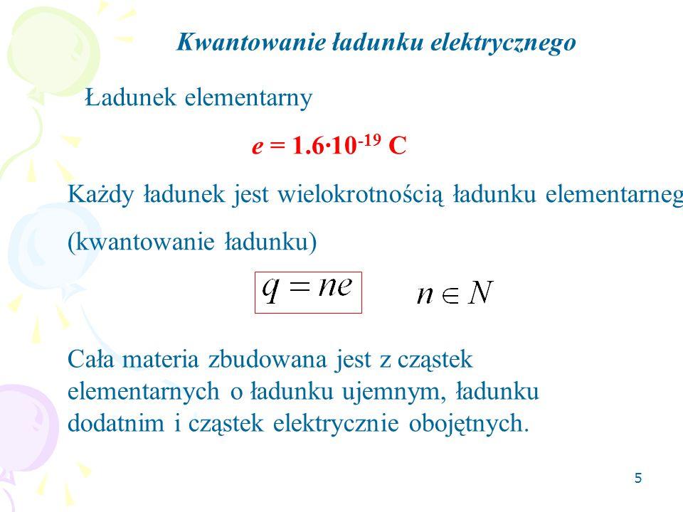 5 Kwantowanie ładunku elektrycznego Ładunek elementarny e = 1.6·10 -19 C Każdy ładunek jest wielokrotnością ładunku elementarnego (kwantowanie ładunku) Cała materia zbudowana jest z cząstek elementarnych o ładunku ujemnym, ładunku dodatnim i cząstek elektrycznie obojętnych.