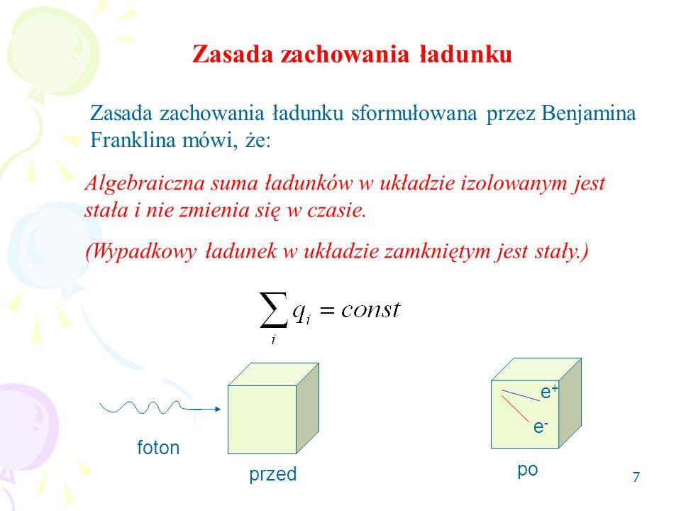 7 Zasada zachowania ładunku Algebraiczna suma ładunków w układzie izolowanym jest stała i nie zmienia się w czasie. (Wypadkowy ładunek w układzie zamk