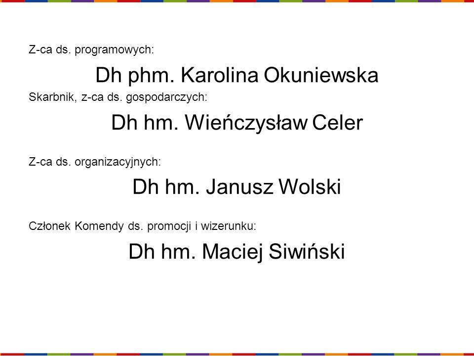 Z-ca ds. programowych: Dh phm. Karolina Okuniewska Skarbnik, z-ca ds. gospodarczych: Dh hm. Wieńczysław Celer Z-ca ds. organizacyjnych: Dh hm. Janusz