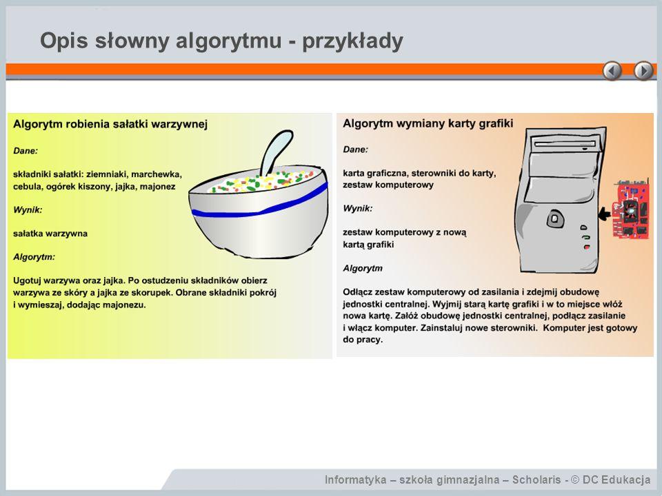 Informatyka – szkoła gimnazjalna – Scholaris - © DC Edukacja Opis słowny algorytmu - przykłady