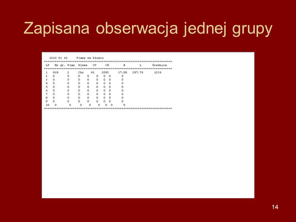 14 Zapisana obserwacja jednej grupy