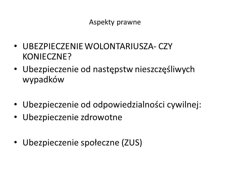 Aspekty prawne UBEZPIECZENIE WOLONTARIUSZA- CZY KONIECZNE.