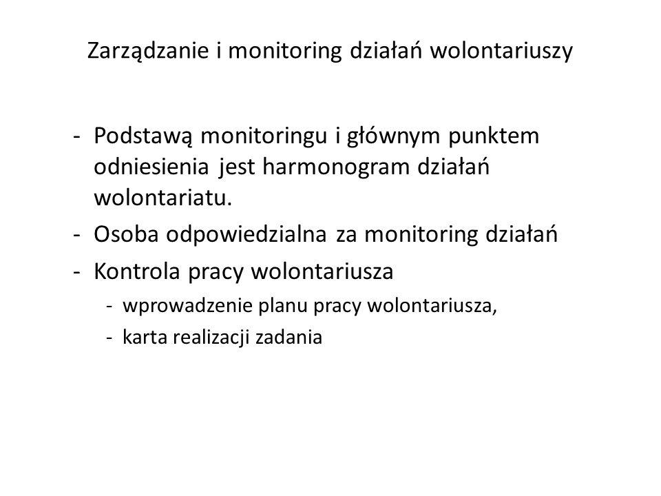 Zarządzanie i monitoring działań wolontariuszy -Podstawą monitoringu i głównym punktem odniesienia jest harmonogram działań wolontariatu. -Osoba odpow