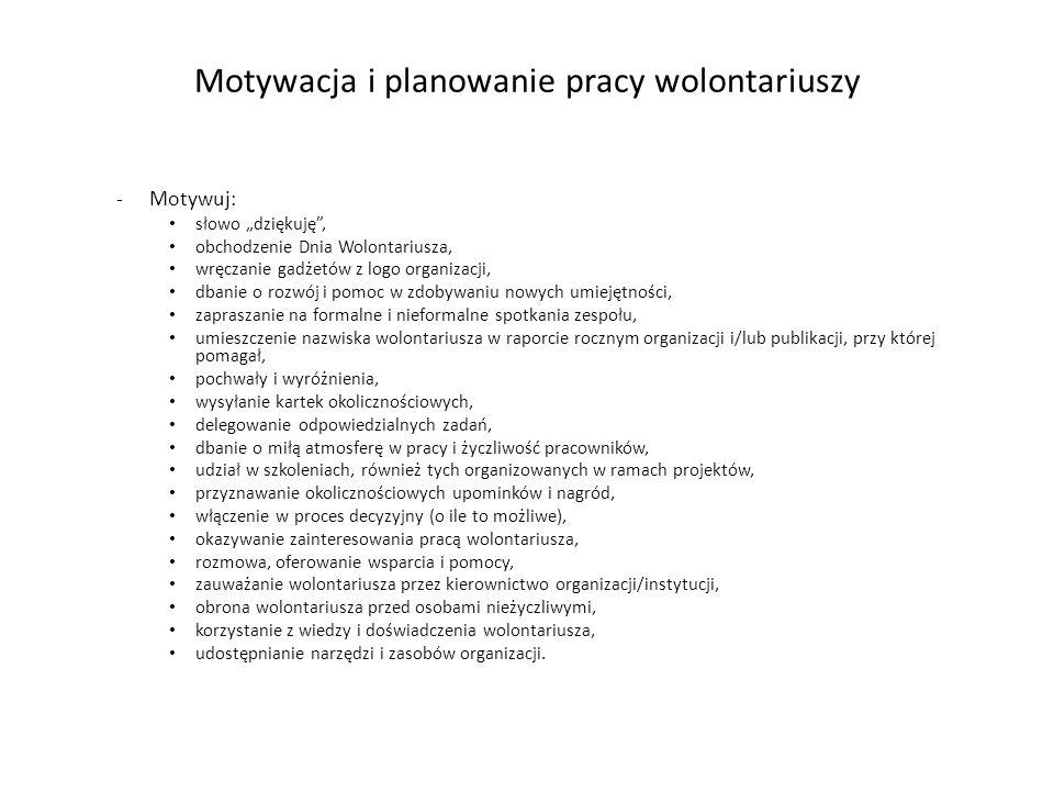 """Motywacja i planowanie pracy wolontariuszy -Motywuj: słowo """"dziękuję"""", obchodzenie Dnia Wolontariusza, wręczanie gadżetów z logo organizacji, dbanie o"""