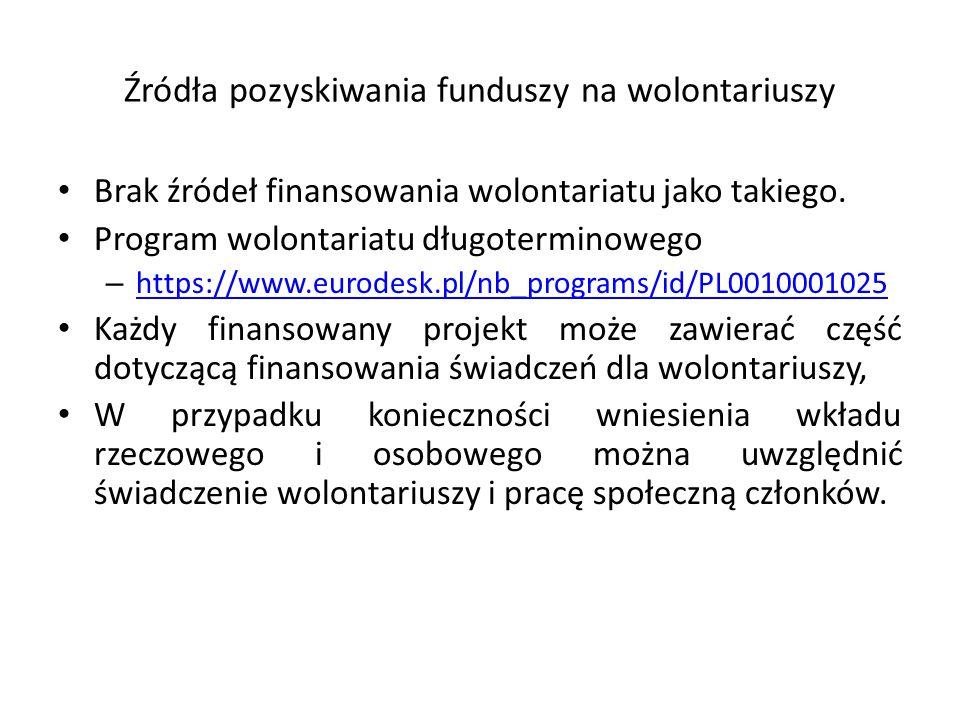 Brak źródeł finansowania wolontariatu jako takiego. Program wolontariatu długoterminowego – https://www.eurodesk.pl/nb_programs/id/PL0010001025 https: