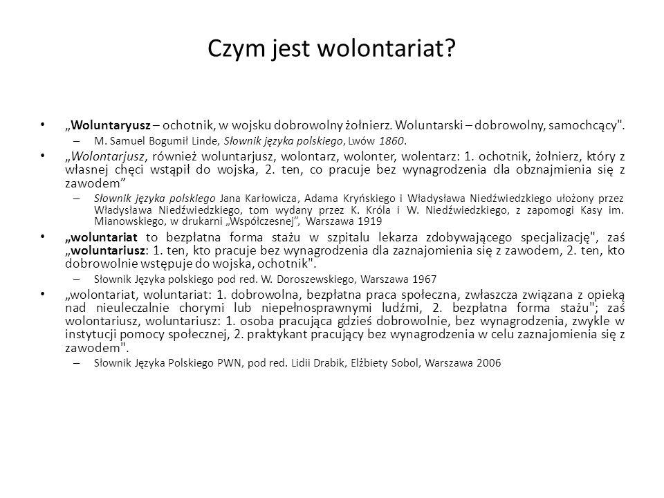 """Czym jest wolontariat? """"Woluntaryusz – ochotnik, w wojsku dobrowolny żołnierz. Woluntarski – dobrowolny, samochcący"""