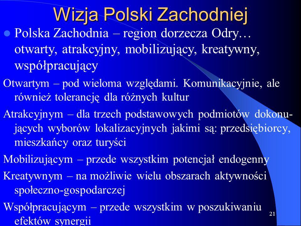 Wizja Polski Zachodniej Polska Zachodnia – region dorzecza Odry… otwarty, atrakcyjny, mobilizujący, kreatywny, współpracujący Otwartym – pod wieloma w