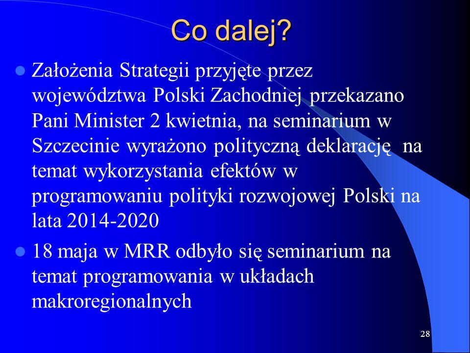 Co dalej? Założenia Strategii przyjęte przez województwa Polski Zachodniej przekazano Pani Minister 2 kwietnia, na seminarium w Szczecinie wyrażono po