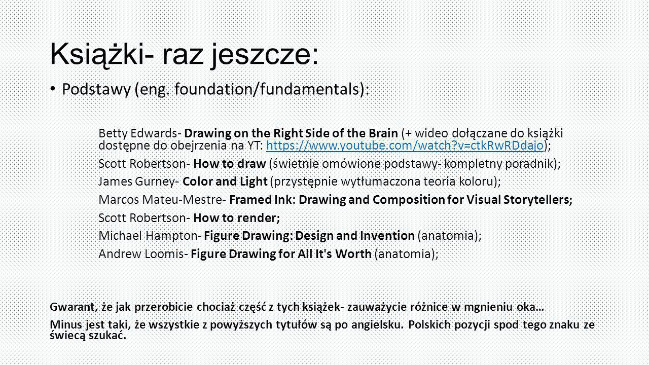 Książki- raz jeszcze: Podstawy (eng. foundation/fundamentals): Betty Edwards- Drawing on the Right Side of the Brain (+ wideo dołączane do książki dos
