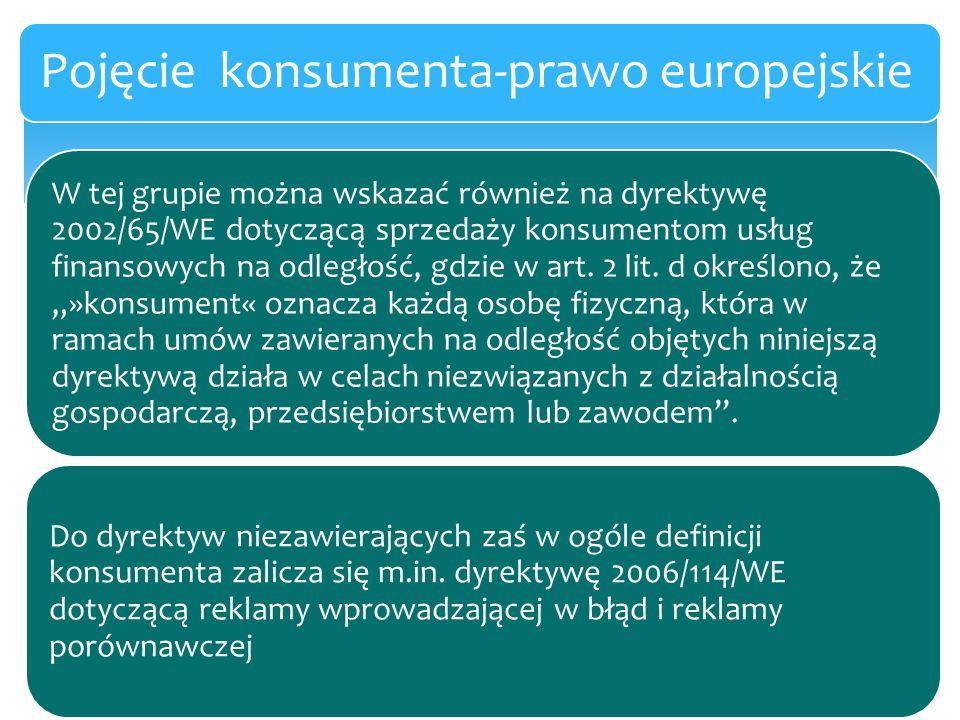 W tej grupie można wskazać również na dyrektywę 2002/65/WE dotyczącą sprzedaży konsumentom usług finansowych na odległość, gdzie w art. 2 lit. d okreś