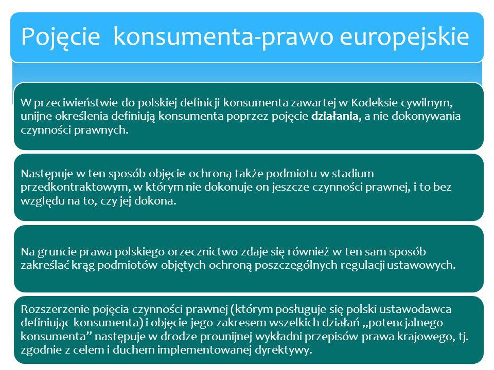 W przeciwieństwie do polskiej definicji konsumenta zawartej w Kodeksie cywilnym, unijne określenia definiują konsumenta poprzez pojęcie działania, a n
