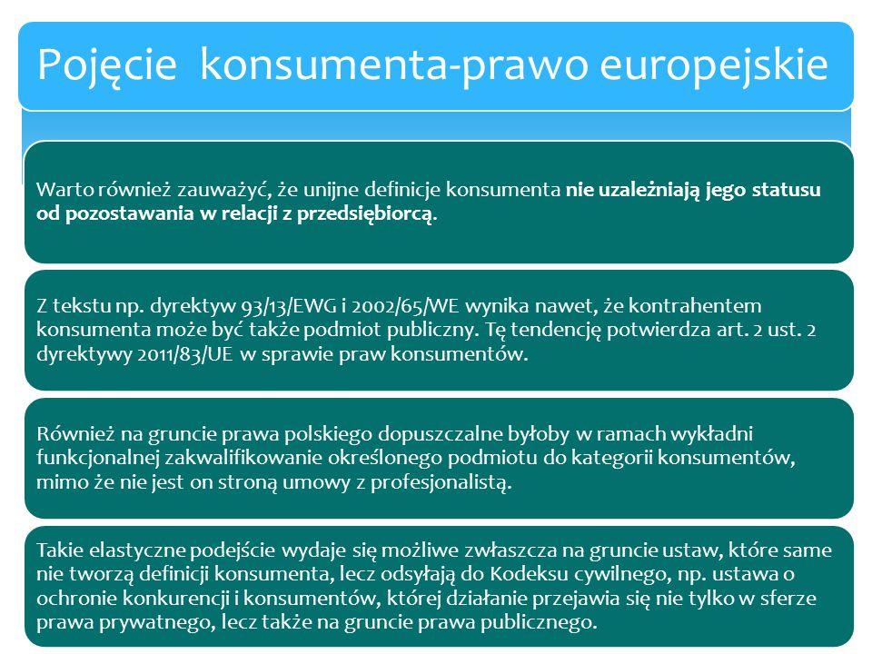 Warto również zauważyć, że unijne definicje konsumenta nie uzależniają jego statusu od pozostawania w relacji z przedsiębiorcą. Z tekstu np. dyrektyw