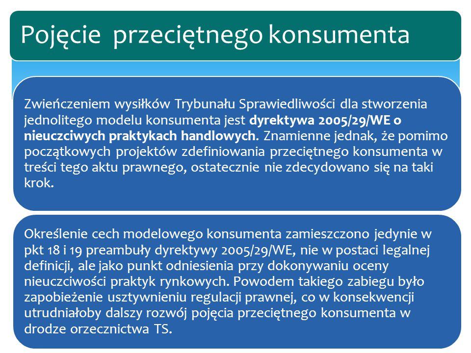 Zwieńczeniem wysiłków Trybunału Sprawiedliwości dla stworzenia jednolitego modelu konsumenta jest dyrektywa 2005/29/WE o nieuczciwych praktykach handl