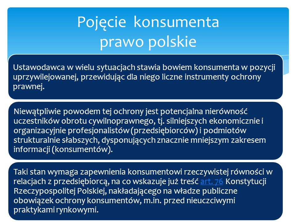 W polskim Kodeksie cywilnym definicja konsumenta pojawiła się po raz pierwszy w brzmieniu nadanym ustawą z 2.3.2000 r.