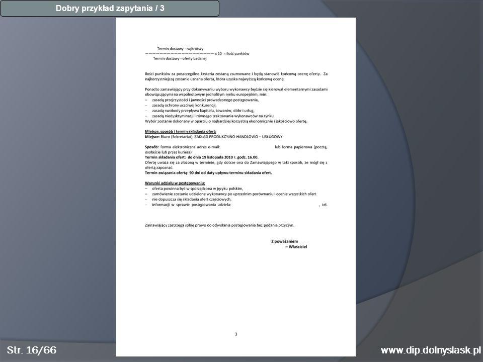 www.dip.dolnyslask.pl Dobry przykład zapytania / 3 Str. 16/66