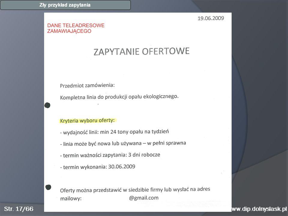 www.dip.dolnyslask.pl Zły przykład zapytania Str. 17/66