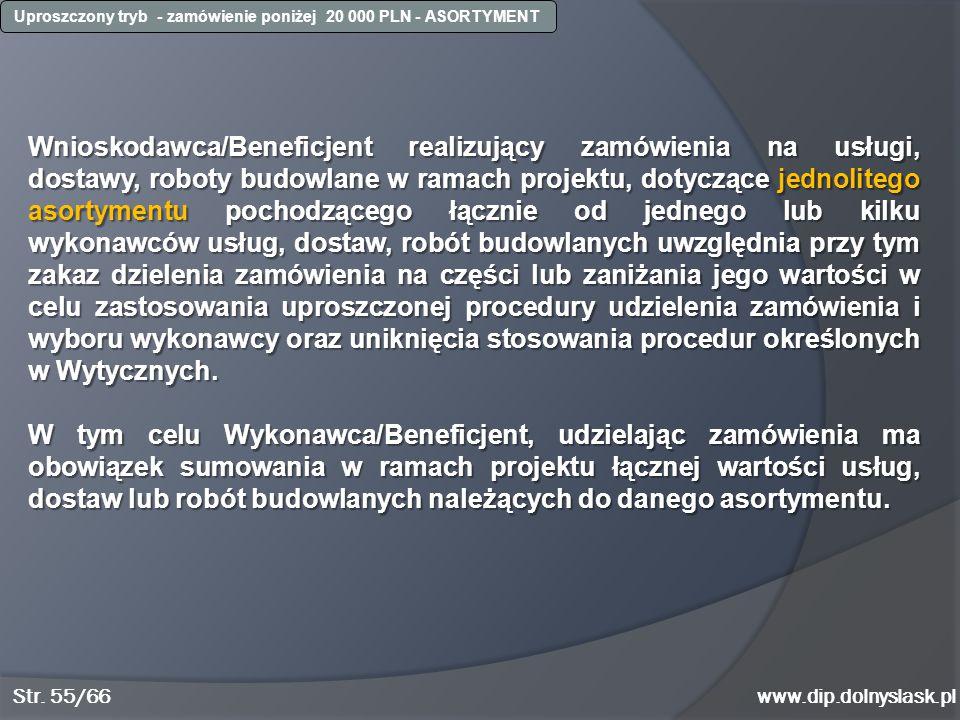 www.dip.dolnyslask.pl Wnioskodawca/Beneficjent realizujący zamówienia na usługi, dostawy, roboty budowlane w ramach projektu, dotyczące jednolitego as