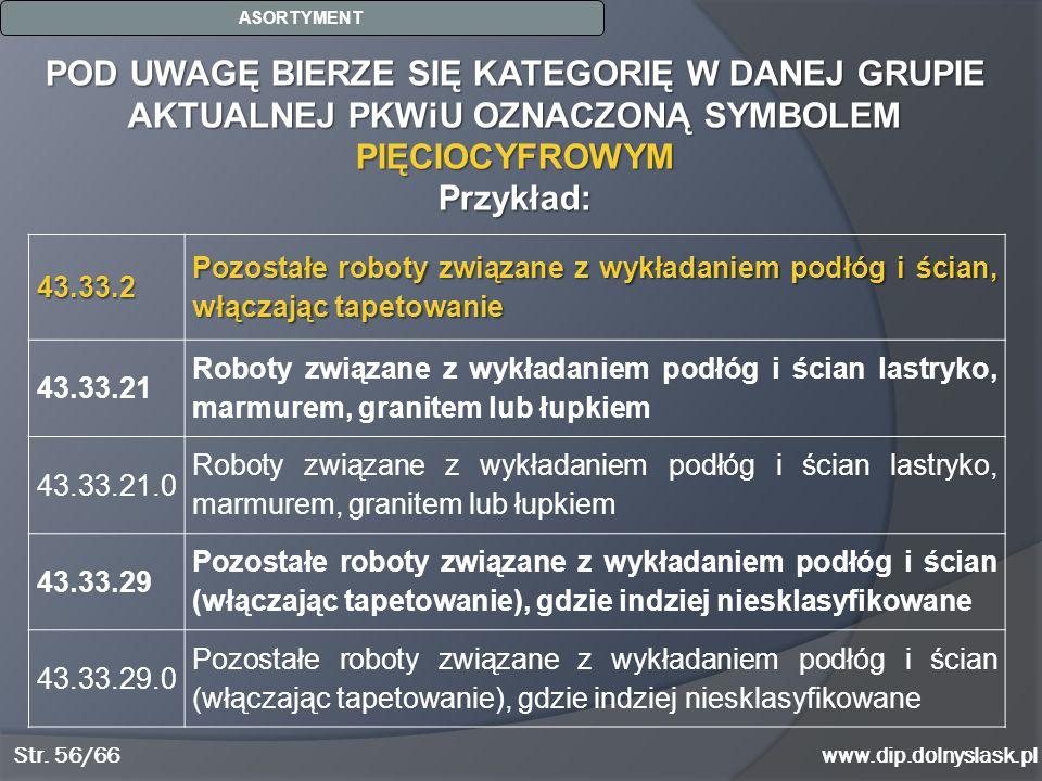 www.dip.dolnyslask.pl POD UWAGĘ BIERZE SIĘ KATEGORIĘ W DANEJ GRUPIE AKTUALNEJ PKWiU OZNACZONĄ SYMBOLEM PIĘCIOCYFROWYM Przykład: ASORTYMENT Str. 56/66