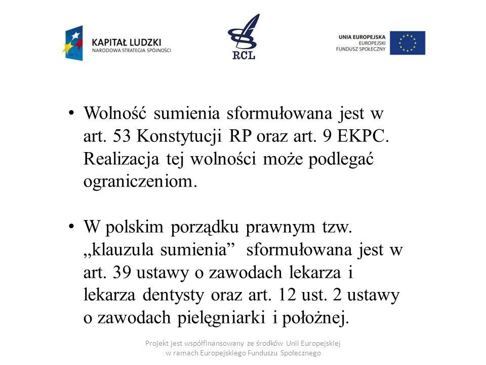 Projekt jest współfinansowany ze środków Unii Europejskiej w ramach Europejskiego Funduszu Społecznego Wolność sumienia sformułowana jest w art. 53 Ko