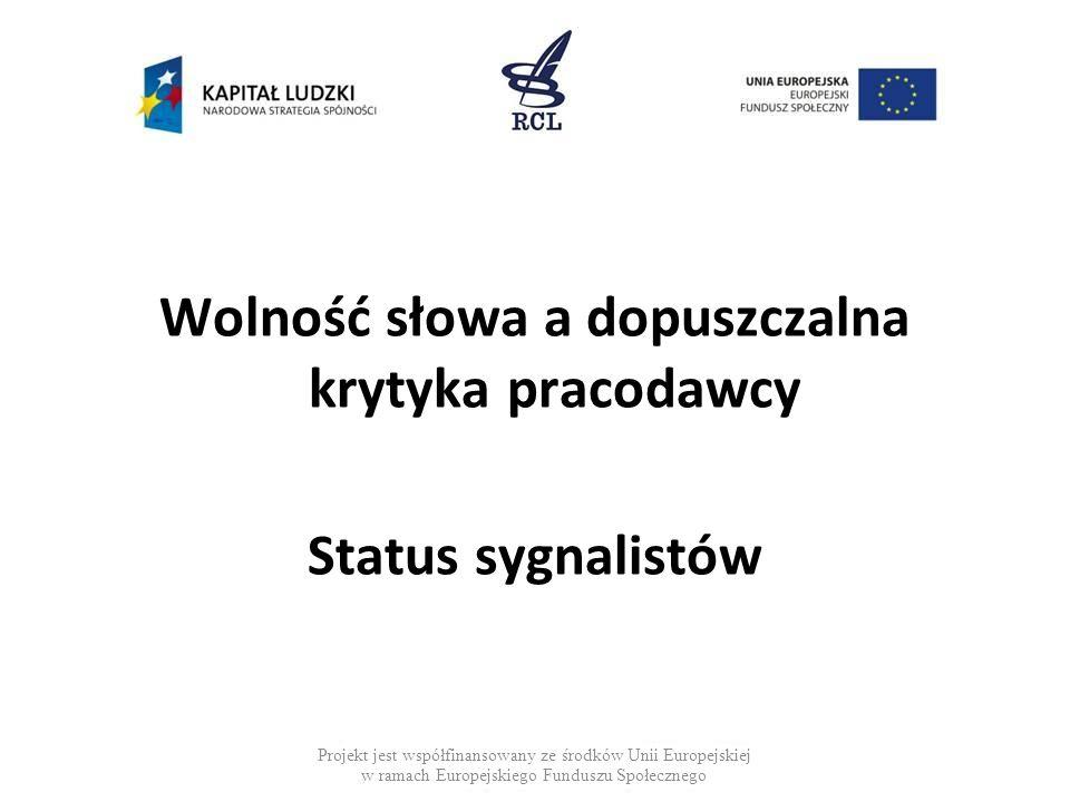 Wolność słowa a dopuszczalna krytyka pracodawcy Status sygnalistów Projekt jest współfinansowany ze środków Unii Europejskiej w ramach Europejskiego Funduszu Społecznego