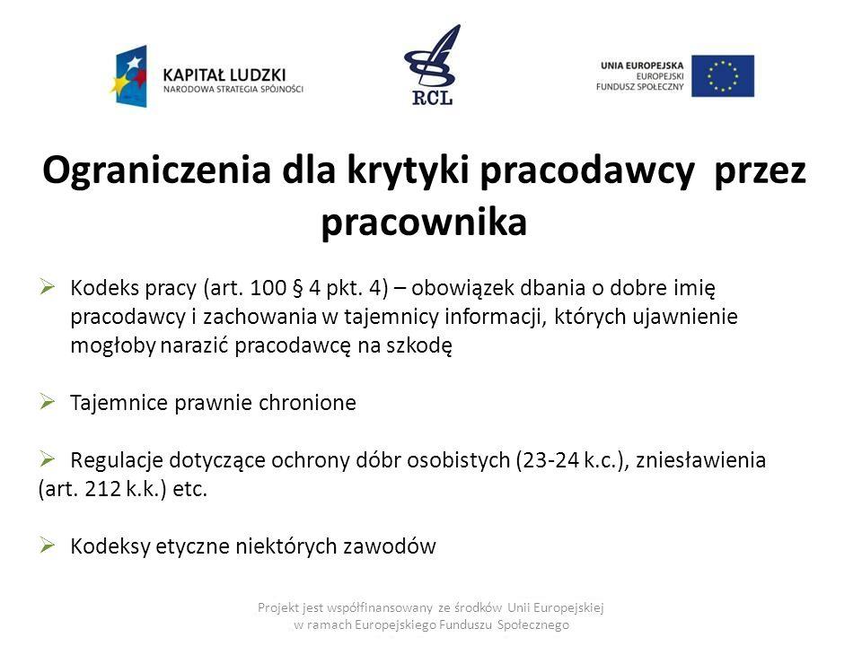 Ograniczenia dla krytyki pracodawcy przez pracownika  Kodeks pracy (art.