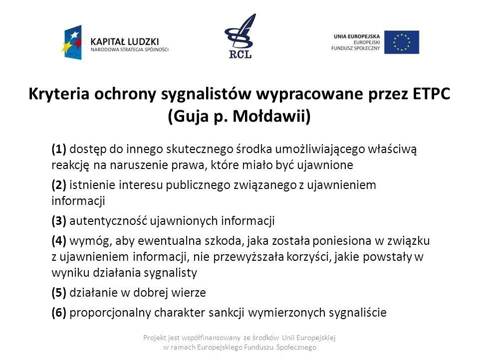 Projekt jest współfinansowany ze środków Unii Europejskiej w ramach Europejskiego Funduszu Społecznego Kryteria ochrony sygnalistów wypracowane przez