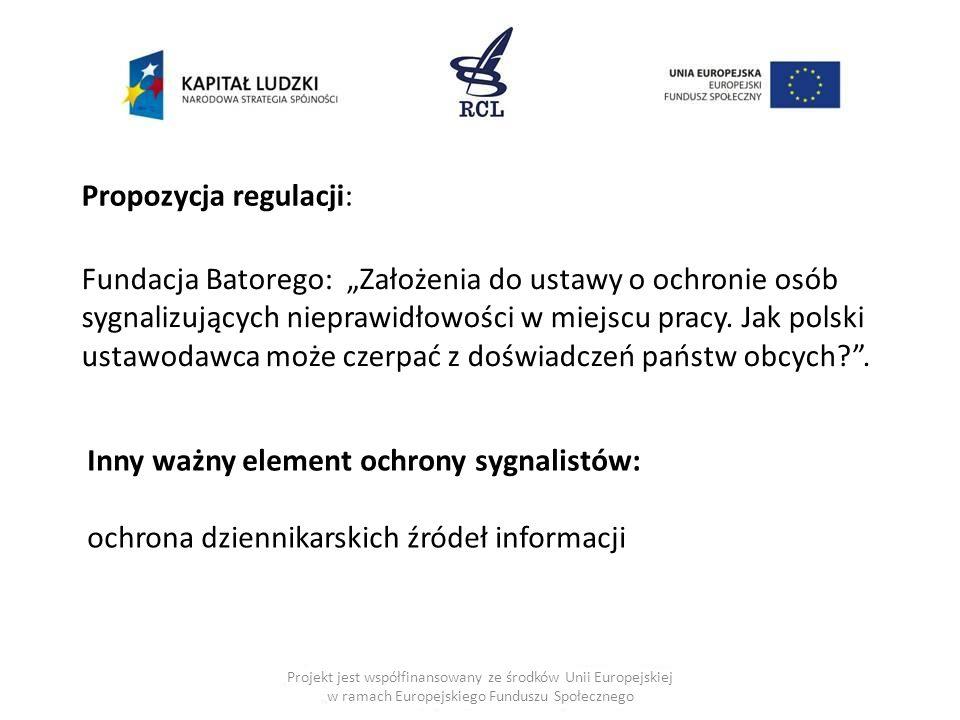 """Projekt jest współfinansowany ze środków Unii Europejskiej w ramach Europejskiego Funduszu Społecznego Fundacja Batorego: """"Założenia do ustawy o ochro"""