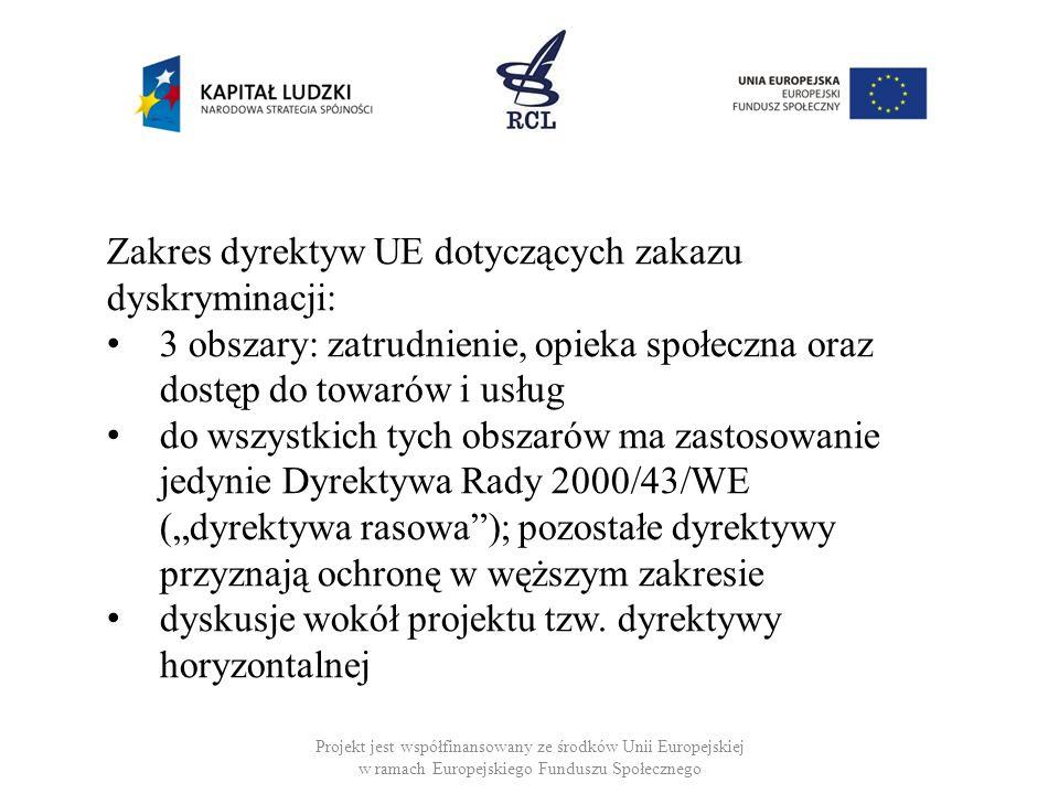 Projekt jest współfinansowany ze środków Unii Europejskiej w ramach Europejskiego Funduszu Społecznego Zakres dyrektyw UE dotyczących zakazu dyskrymin