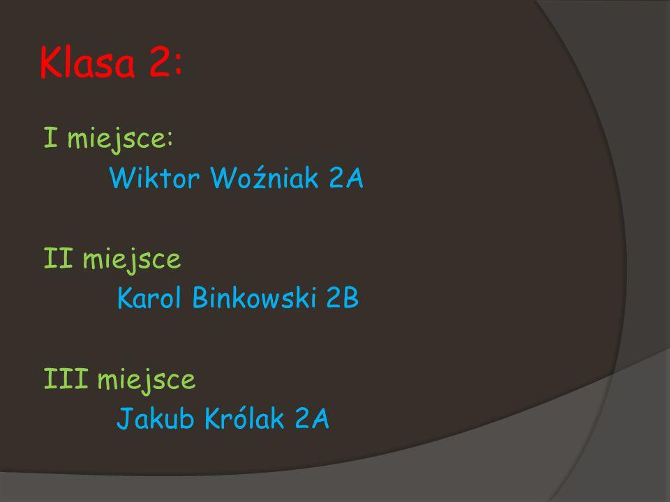 Klasa 2: I miejsce: Wiktor Woźniak 2A II miejsce Karol Binkowski 2B III miejsce Jakub Królak 2A