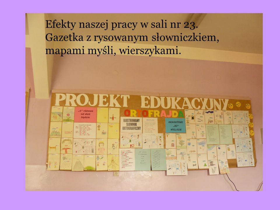 Efekty naszej pracy w sali nr 23. Gazetka z rysowanym słowniczkiem, mapami myśli, wierszykami.