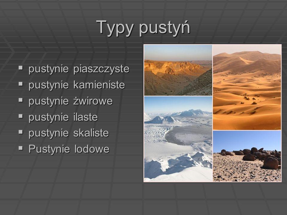 Typy pustyń  pustynie piaszczyste  pustynie kamieniste  pustynie żwirowe  pustynie ilaste  pustynie skaliste  Pustynie lodowe
