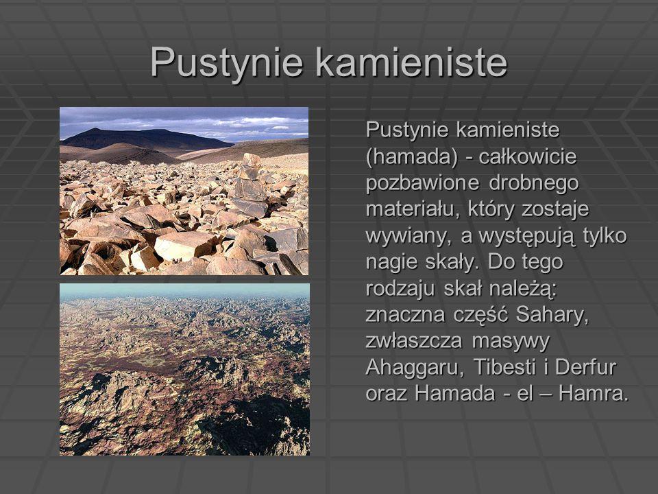 Pustynie kamieniste Pustynie kamieniste (hamada) - całkowicie pozbawione drobnego materiału, który zostaje wywiany, a występują tylko nagie skały. Do