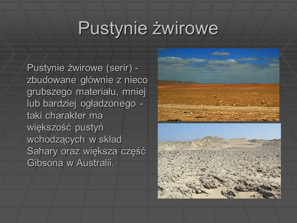 Pustynie żwirowe Pustynie żwirowe (serir) - zbudowane głównie z nieco grubszego materiału, mniej lub bardziej ogładzonego - taki charakter ma większoś