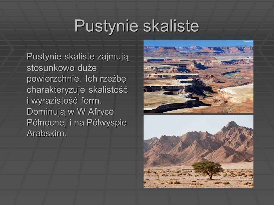 Pustynie skaliste Pustynie skaliste zajmują stosunkowo duże powierzchnie. Ich rzeźbę charakteryzuje skalistość i wyrazistość form. Dominują w W Afryce