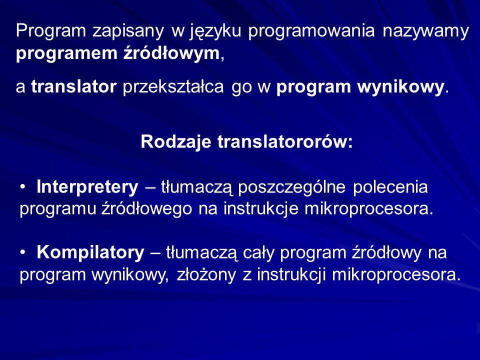 Program zapisany w języku programowania nazywamy programem źródłowym, a translator przekształca go w program wynikowy. Rodzaje translatororów: Interpr