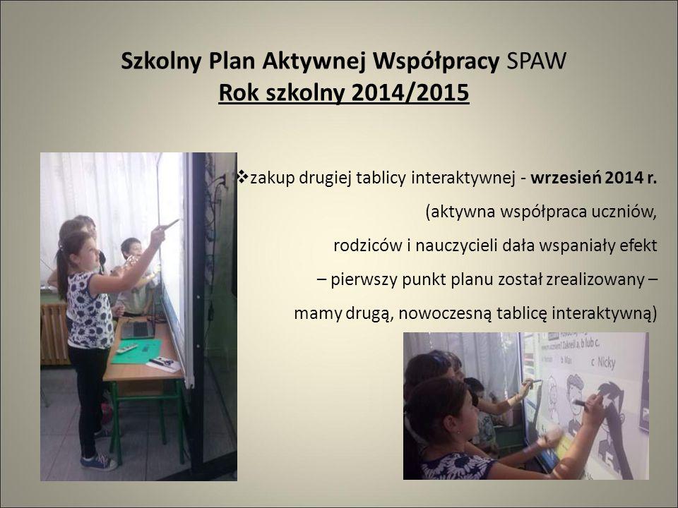 Szkolny Plan Aktywnej Współpracy SPAW Rok szkolny 2014/2015  zakup drugiej tablicy interaktywnej - wrzesień 2014 r.