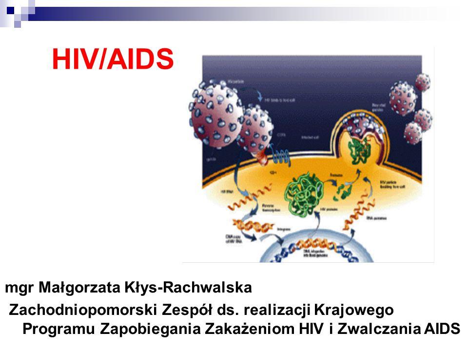 HIV/AIDS mgr Małgorzata Kłys-Rachwalska Zachodniopomorski Zespół ds. realizacji Krajowego Programu Zapobiegania Zakażeniom HIV i Zwalczania AIDS