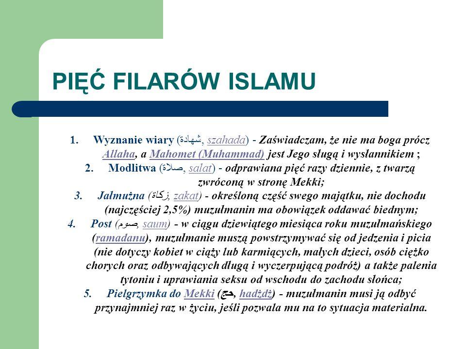 KORAN Koran (arab. القُرْآن Al-Qur'ān – oznacza czytanie, recytację) – święta księga islamu, uważana przez muzułmanów za słowo Allaha. Powstał w latac
