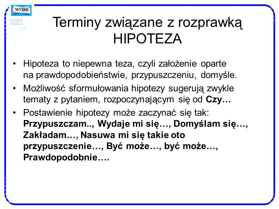 Terminy związane z rozprawką HIPOTEZA Hipoteza to niepewna teza, czyli założenie oparte na prawdopodobieństwie, przypuszczeniu, domyśle. Możliwość sfo