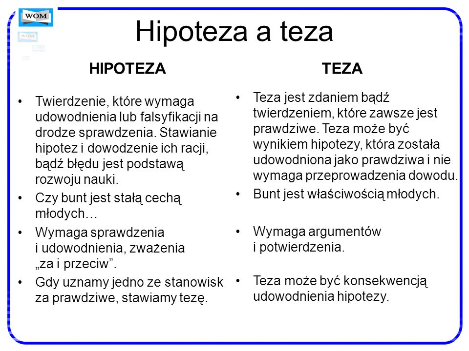 Hipoteza a teza HIPOTEZA Twierdzenie, które wymaga udowodnienia lub falsyfikacji na drodze sprawdzenia. Stawianie hipotez i dowodzenie ich racji, bądź