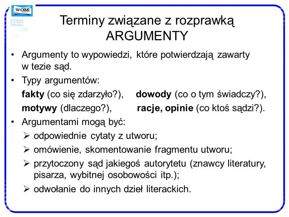 Terminy związane z rozprawką ARGUMENTY Argumenty to wypowiedzi, które potwierdzają zawarty w tezie sąd. Typy argumentów: fakty (co się zdarzyło?), dow