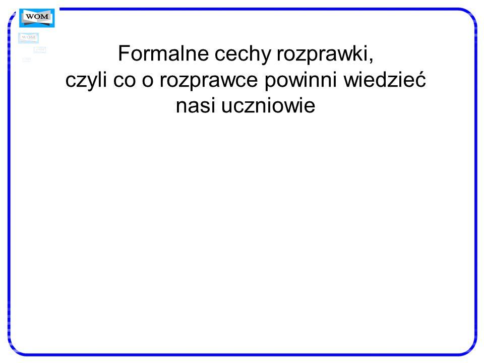 Formalne cechy i schematy konstrukcyjne rozprawki Schemat 1.