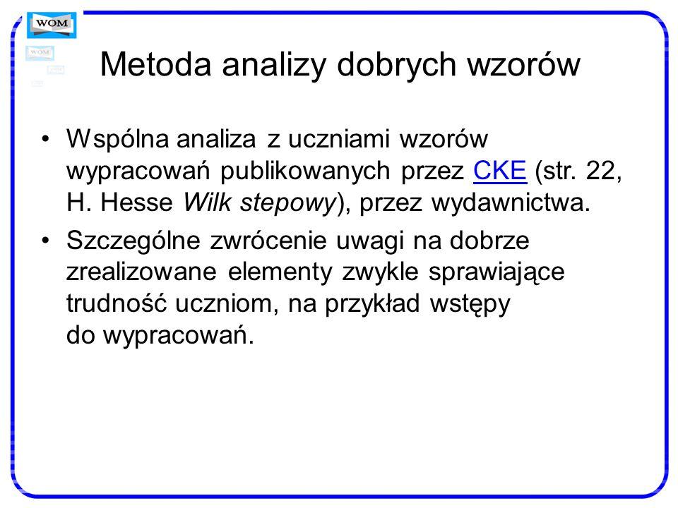 Metoda analizy dobrych wzorów Wspólna analiza z uczniami wzorów wypracowań publikowanych przez CKE (str. 22, H. Hesse Wilk stepowy), przez wydawnictwa