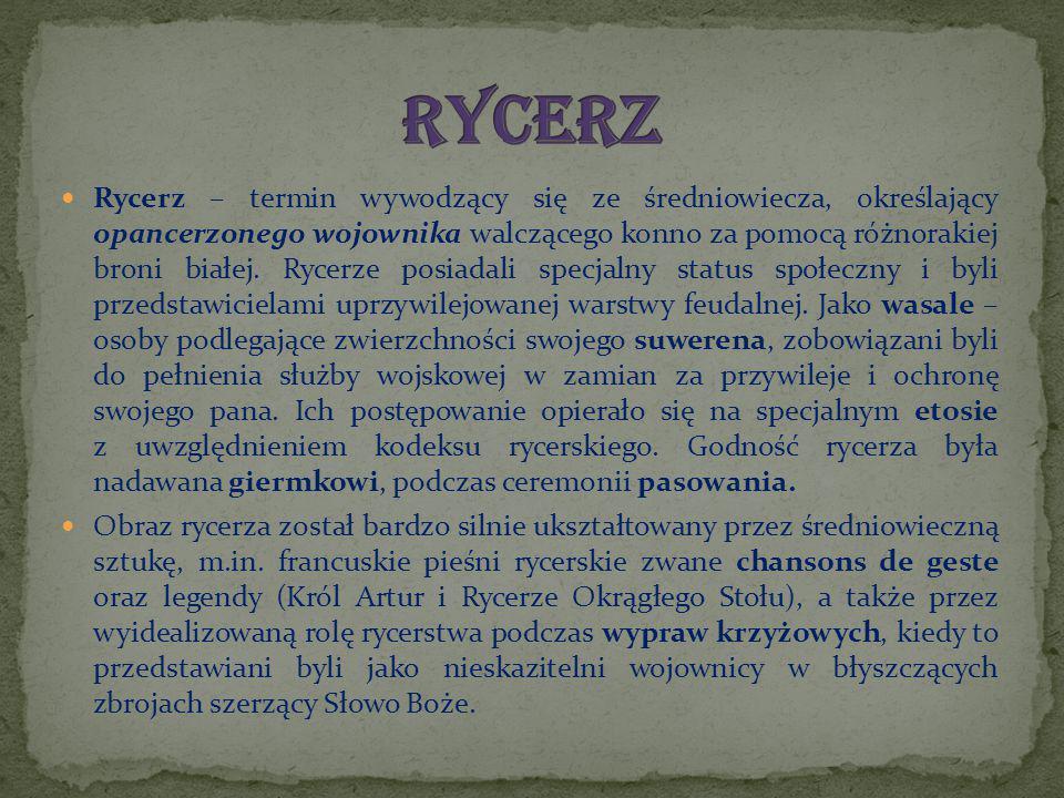 Rycerz – termin wywodzący się ze średniowiecza, określający opancerzonego wojownika walczącego konno za pomocą różnorakiej broni białej. Rycerze posia