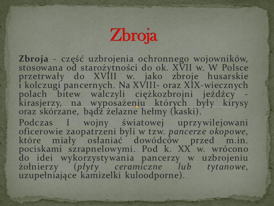 Zbroja - część uzbrojenia ochronnego wojowników, stosowana od starożytności do ok. XVII w. W Polsce przetrwały do XVIII w. jako zbroje husarskie i kol