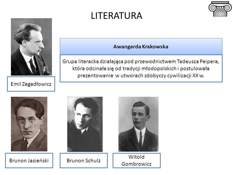 LITERATURA Awangarda Krakowska Grupa literacka działająca pod przewodnictwem Tadeusza Peipera, która odcinała się od tradycji młodopolskich i postulowała prezentowanie w utworach zdobyczy cywilizacji XX w.