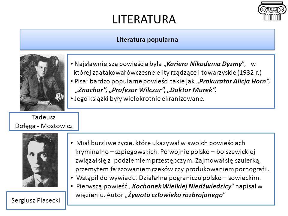 """LITERATURA Literatura popularna Tadeusz Dołęga - Mostowicz Sergiusz Piasecki Najsławniejszą powieścią była """"Kariera Nikodema Dyzmy , w której zaatakował ówczesne elity rządzące i towarzyskie (1932 r.) Pisał bardzo popularne powieści takie jak """"Prokurator Alicja Horn , """"Znachor , """"Profesor Wilczur , """"Doktor Murek ."""