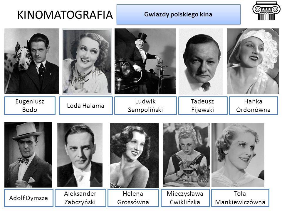 KINOMATOGRAFIA Gwiazdy polskiego kina Eugeniusz Bodo Adolf Dymsza Aleksander Żabczyński Helena Grossówna Ludwik Sempoliński Mieczysława Ćwiklińska Tol