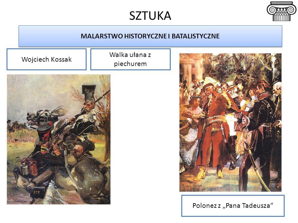 """SZTUKA MALARSTWO HISTORYCZNE I BATALISTYCZNE Wojciech Kossak Polonez z """"Pana Tadeusza Walka ułana z piechurem"""